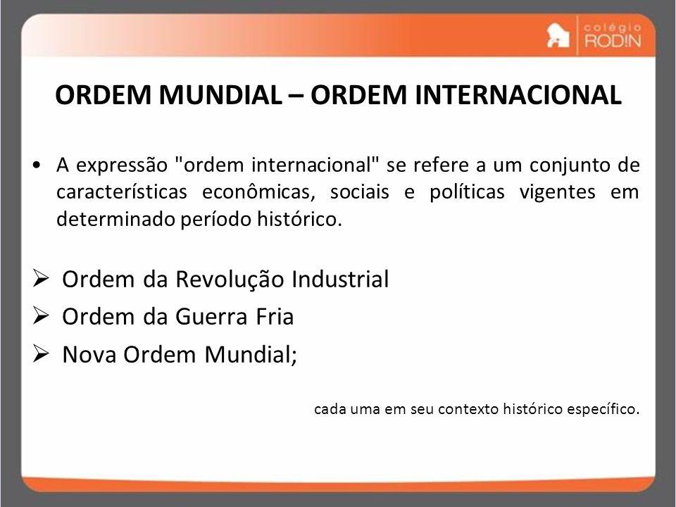 IDADE CONTEMPORÂNEA GUERRA FRIA (1945 – 1989) ORDEM MUNDIAL – ORDEM INTERNACIONAL A expressão