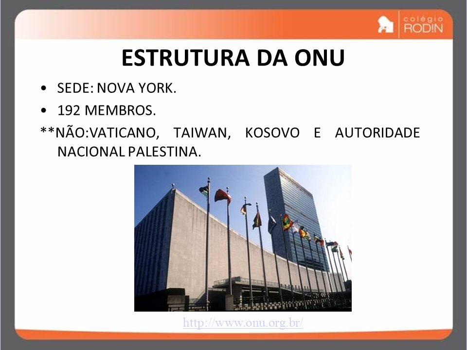 IDADE CONTEMPORÂNEA GUERRA FRIA (1945 – 1989) ESTRUTURA DA ONU SEDE: NOVA YORK. 192 MEMBROS. **NÃO:VATICANO, TAIWAN, KOSOVO E AUTORIDADE NACIONAL PALE