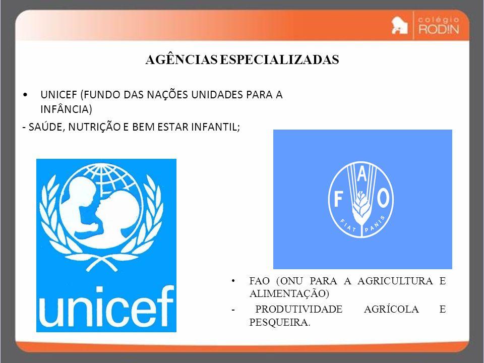 IDADE CONTEMPORÂNEA GUERRA FRIA (1945 – 1989) AGÊNCIAS ESPECIALIZADAS UNICEF (FUNDO DAS NAÇÕES UNIDADES PARA A INFÂNCIA) - SAÚDE, NUTRIÇÃO E BEM ESTAR