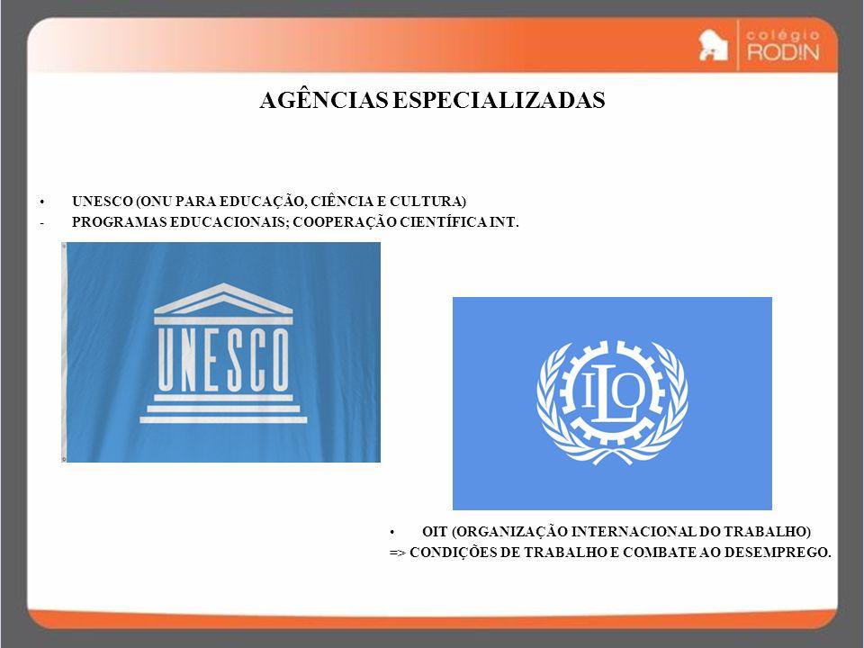 IDADE CONTEMPORÂNEA GUERRA FRIA (1945 – 1989) AGÊNCIAS ESPECIALIZADAS UNESCO (ONU PARA EDUCAÇÃO, CIÊNCIA E CULTURA) -PROGRAMAS EDUCACIONAIS; COOPERAÇÃ