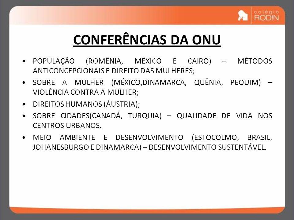 IDADE CONTEMPORÂNEA GUERRA FRIA (1945 – 1989) CONFERÊNCIAS DA ONU POPULAÇÃO (ROMÊNIA, MÉXICO E CAIRO) – MÉTODOS ANTICONCEPCIONAIS E DIREITO DAS MULHER