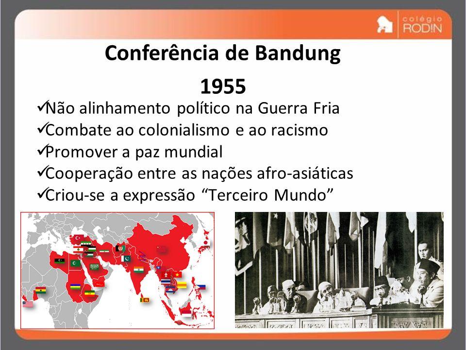IDADE CONTEMPORÂNEA GUERRA FRIA (1945 – 1989) Conferência de Bandung 1955 Não alinhamento político na Guerra Fria Combate ao colonialismo e ao racismo