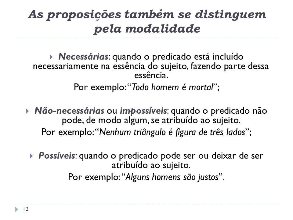 As proposições também se distinguem pela modalidade Necessárias: quando o predicado está incluído necessariamente na essência do sujeito, fazendo part