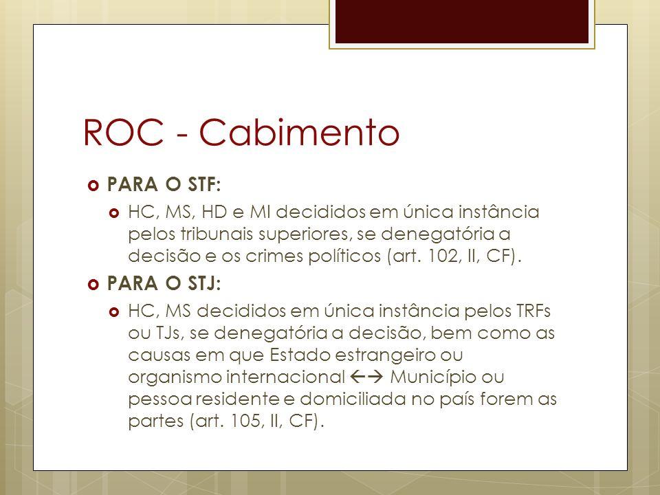 ROC - Cabimento PARA O STF: HC, MS, HD e MI decididos em única instância pelos tribunais superiores, se denegatória a decisão e os crimes políticos (art.