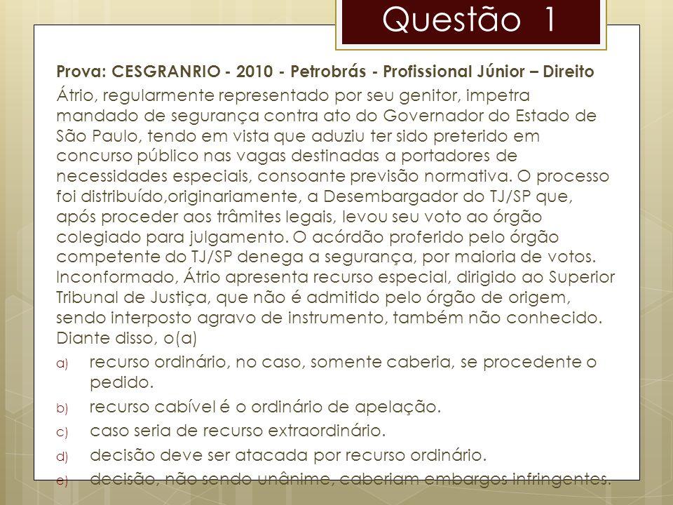 Questão 1 Prova: CESGRANRIO - 2010 - Petrobrás - Profissional Júnior – Direito Átrio, regularmente representado por seu genitor, impetra mandado de se