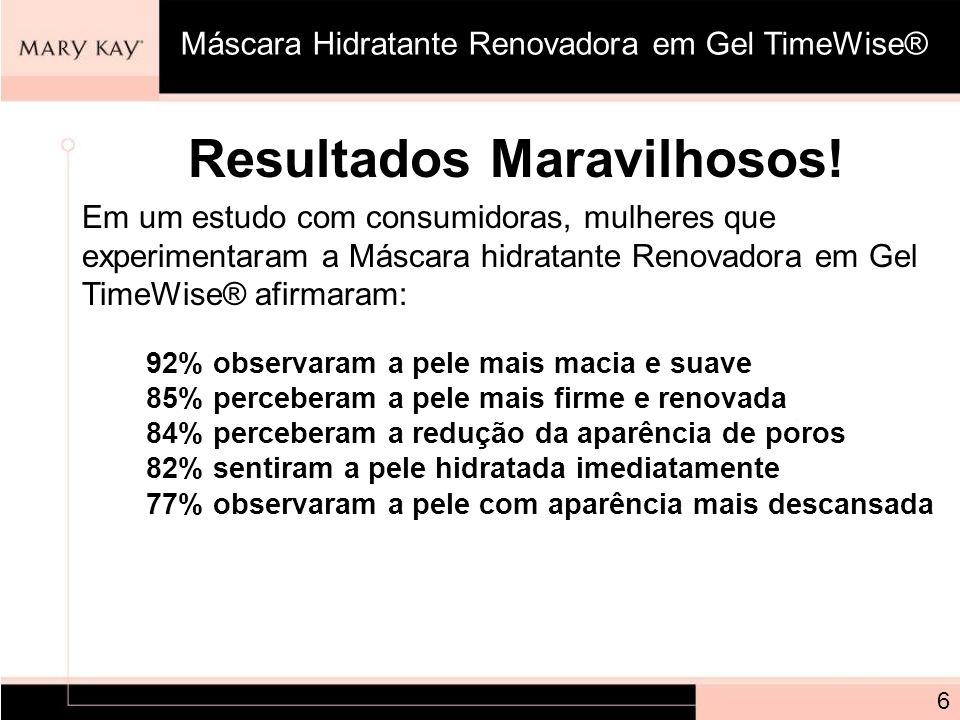 Resultados Maravilhosos! Em um estudo com consumidoras, mulheres que experimentaram a Máscara hidratante Renovadora em Gel TimeWise® afirmaram: 92% ob