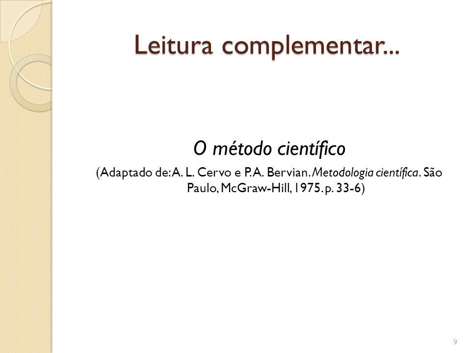 Leitura complementar... O método científico (Adaptado de: A. L. Cervo e P. A. Bervian. Metodologia científica. São Paulo, McGraw-Hill, 1975. p. 33-6)