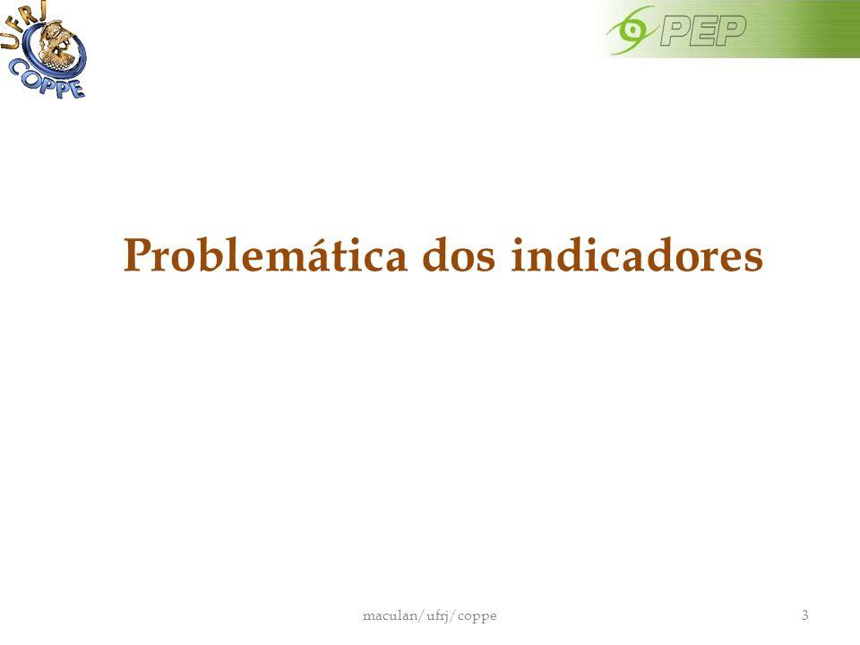 Problemática dos indicadores maculan/ufrj/coppe3