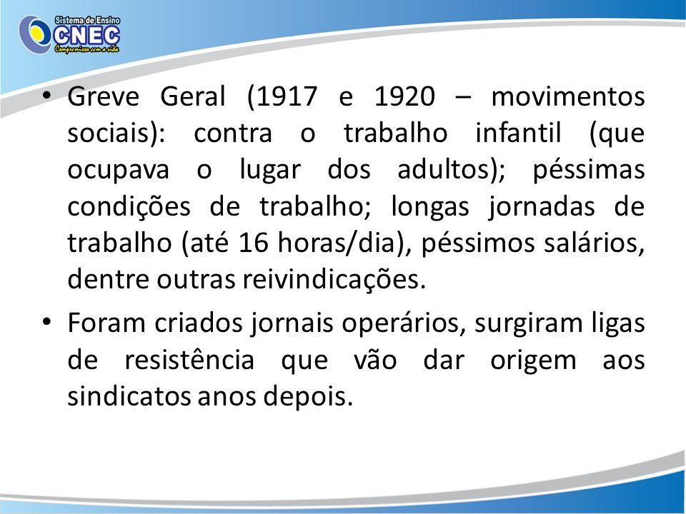 Greve Geral (1917 e 1920 – movimentos sociais): contra o trabalho infantil (que ocupava o lugar dos adultos); péssimas condições de trabalho; longas j