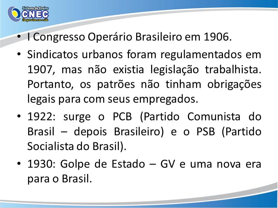 I Congresso Operário Brasileiro em 1906. Sindicatos urbanos foram regulamentados em 1907, mas não existia legislação trabalhista. Portanto, os patrões
