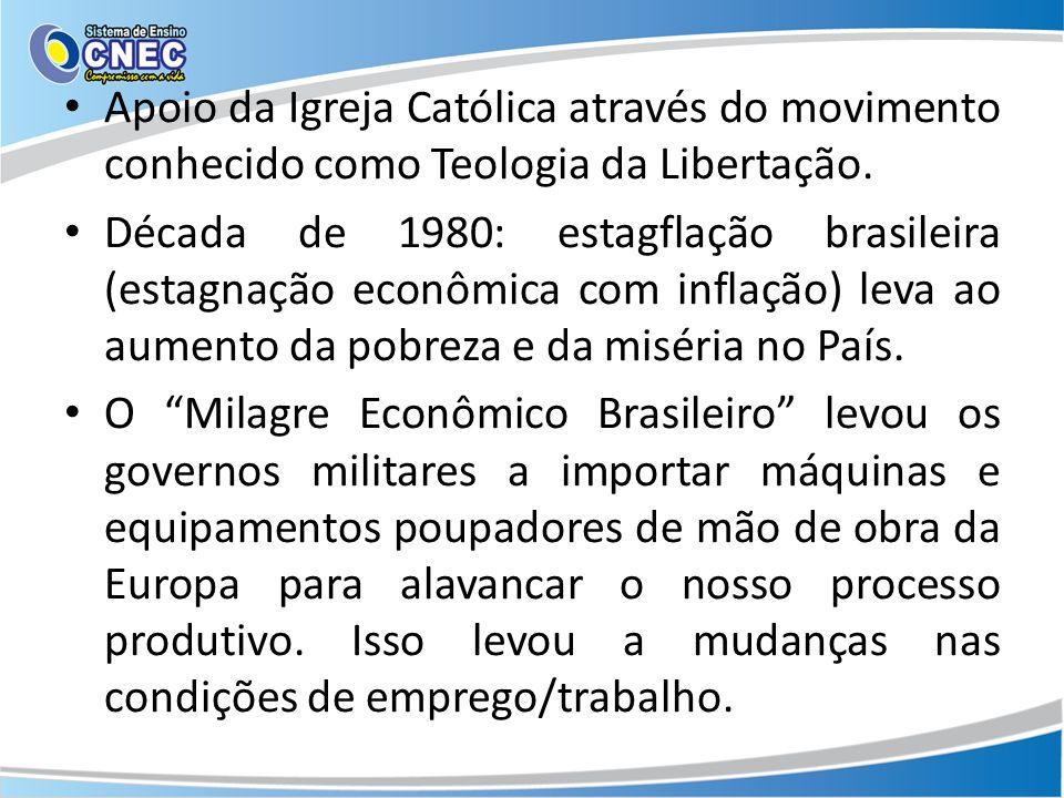 Apoio da Igreja Católica através do movimento conhecido como Teologia da Libertação. Década de 1980: estagflação brasileira (estagnação econômica com