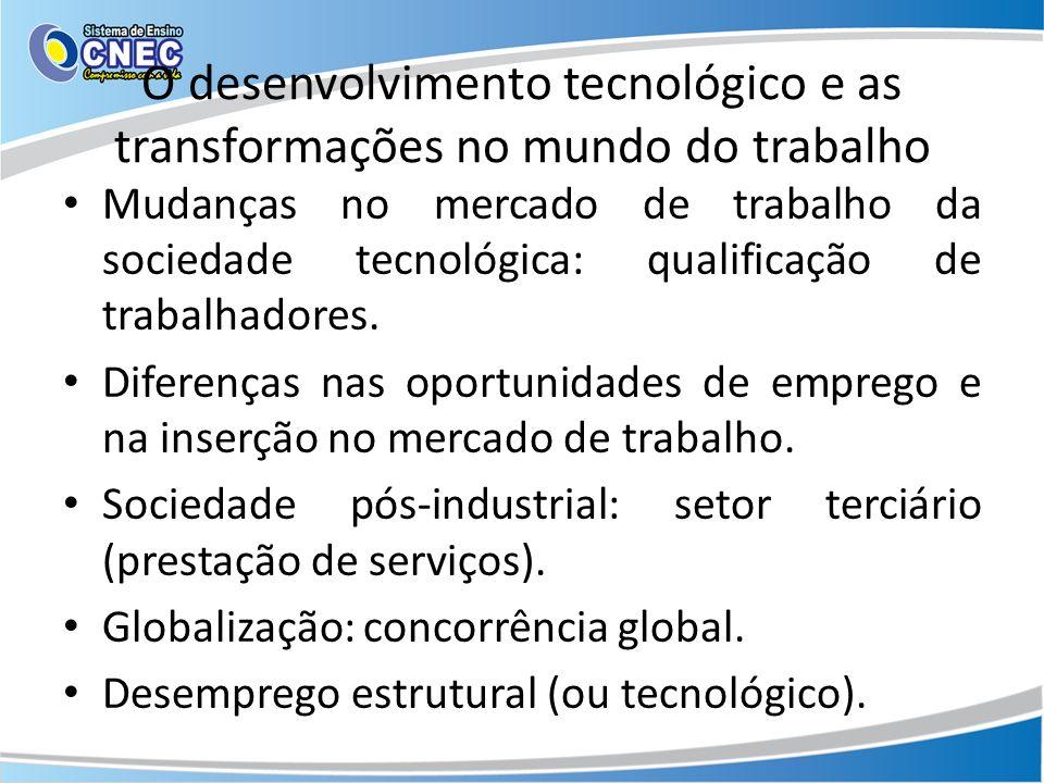 O desenvolvimento tecnológico e as transformações no mundo do trabalho Mudanças no mercado de trabalho da sociedade tecnológica: qualificação de traba