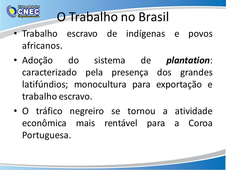 O Trabalho no Brasil Trabalho escravo de indígenas e povos africanos. Adoção do sistema de plantation: caracterizado pela presença dos grandes latifún