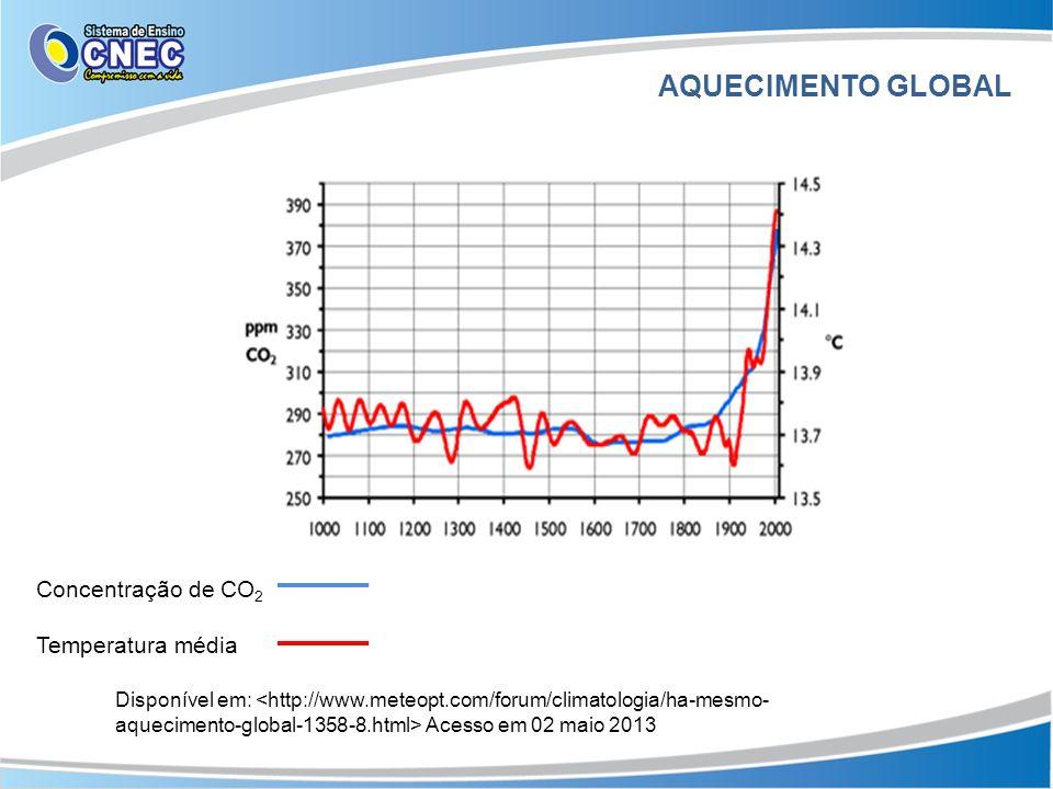 AQUECIMENTO GLOBAL Disponível em: Acesso em 02 maio 2013 Concentração de CO 2 Temperatura média