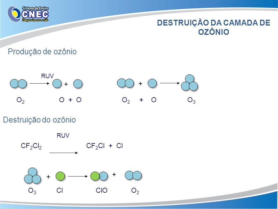 RUV O 2 O + O O 2 + O O 3 Destruição do ozônio RUV CF 2 Cl 2 CF 2 Cl + Cl O 3 Cl ClO O 2 + + + + DESTRUIÇÃO DA CAMADA DE OZÔNIO Produção de ozônio