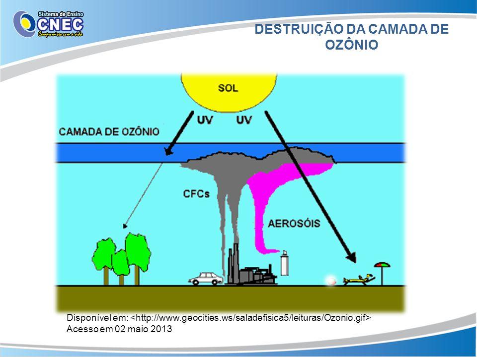 DESTRUIÇÃO DA CAMADA DE OZÔNIO Disponível em: Acesso em 02 maio 2013