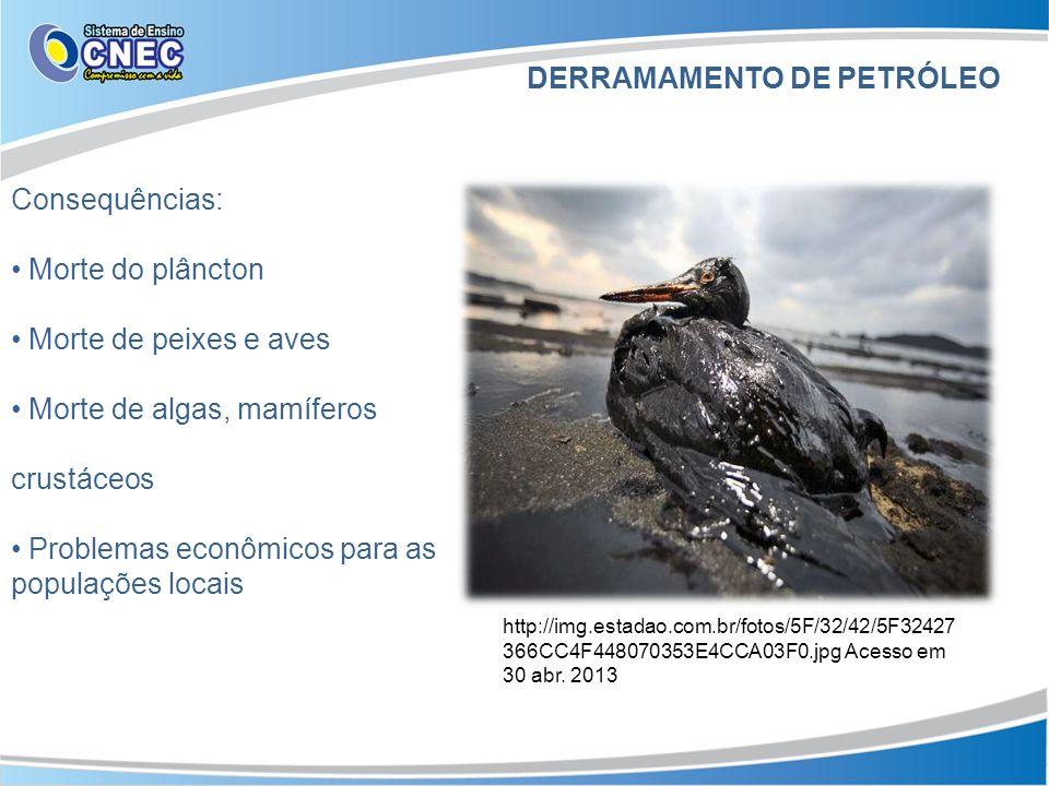 Consequências: Morte do plâncton Morte de peixes e aves Morte de algas, mamíferos crustáceos Problemas econômicos para as populações locais DERRAMAMENTO DE PETRÓLEO http://img.estadao.com.br/fotos/5F/32/42/5F32427 366CC4F448070353E4CCA03F0.jpg Acesso em 30 abr.