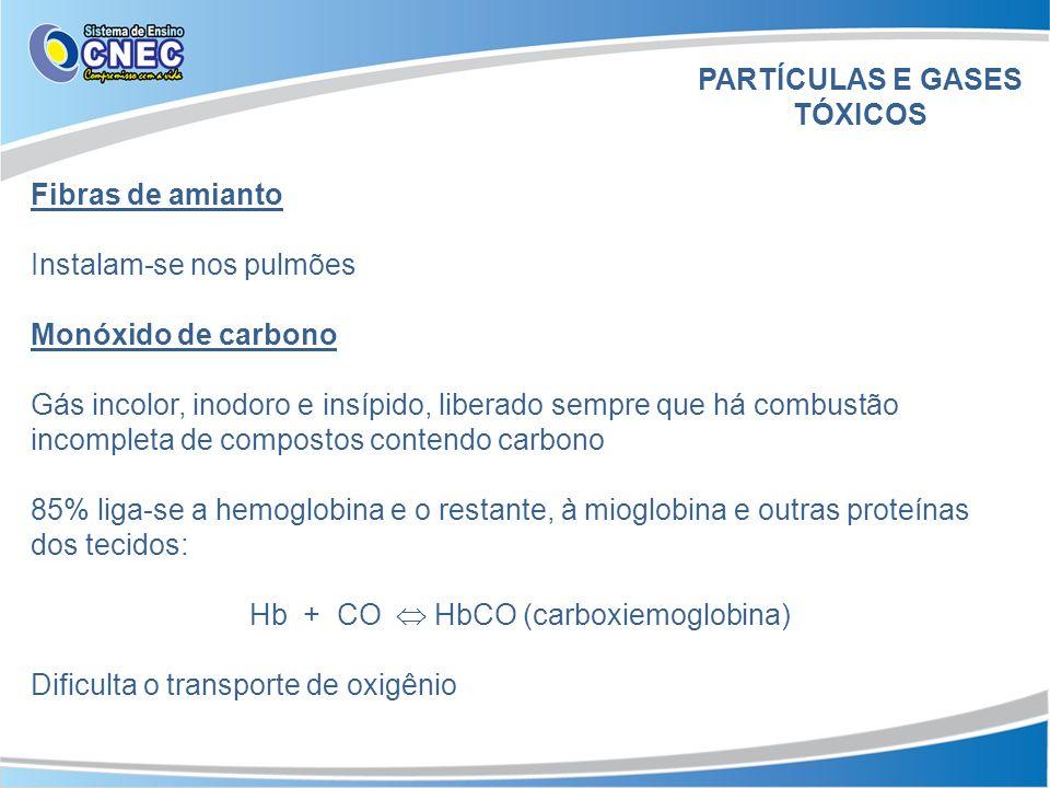 Fibras de amianto Instalam-se nos pulmões Monóxido de carbono Gás incolor, inodoro e insípido, liberado sempre que há combustão incompleta de compostos contendo carbono 85% liga-se a hemoglobina e o restante, à mioglobina e outras proteínas dos tecidos: Hb + CO HbCO (carboxiemoglobina) Dificulta o transporte de oxigênio PARTÍCULAS E GASES TÓXICOS