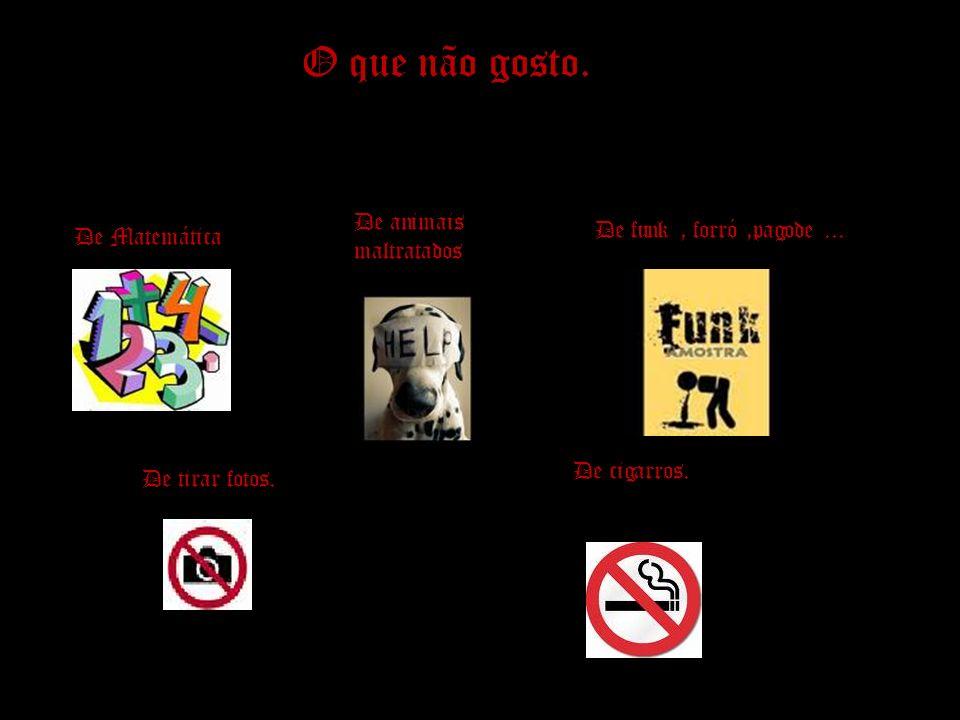 O que não gosto. De Matemática De animais maltratados De funk, forró,pagode... De tirar fotos. De cigarros.