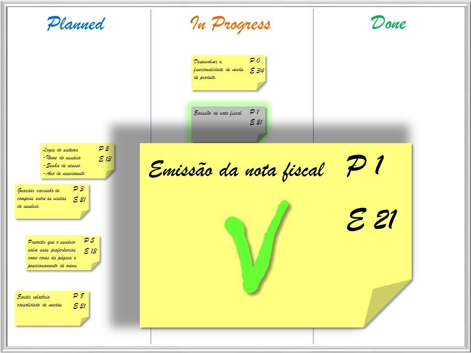 PlannedIn Progress Done P 0 E 34 Desenvolver a funcionalidade de venda de produto. P 2 E 13 Login do sistema -Nome do usuário -Senha de acesso -Ano de