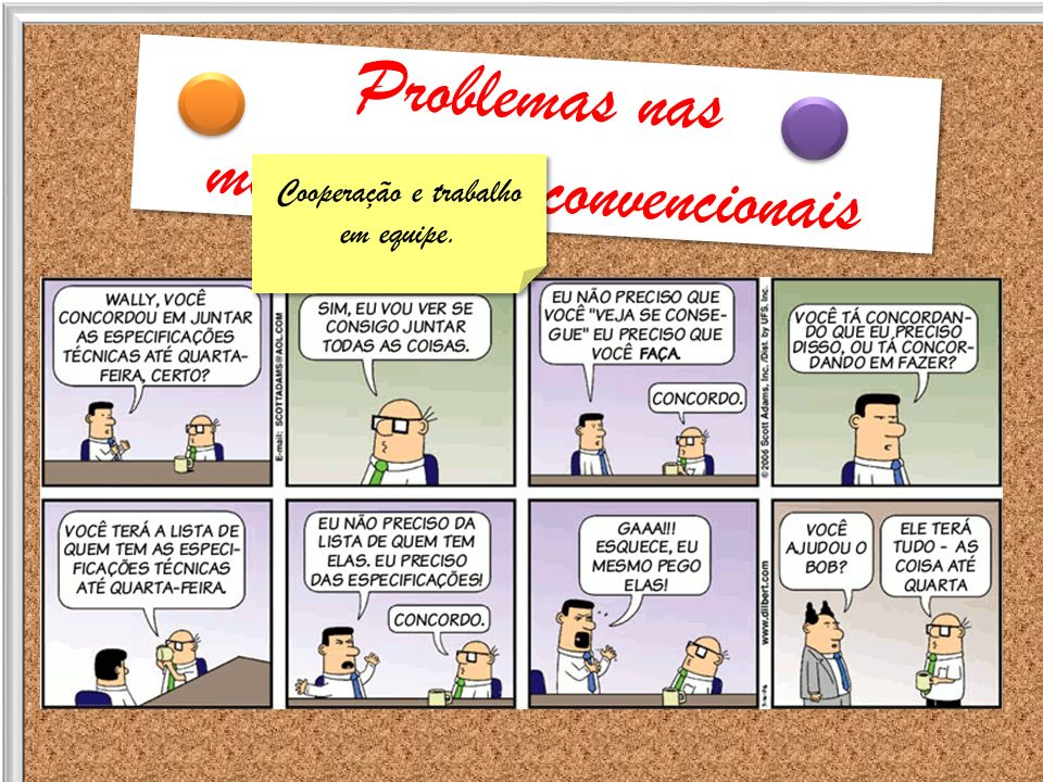 Problemas nas metodologias convencionais Problemas nas metodologias convencionais Cooperação e trabalho em equipe. Cooperação e trabalho em equipe.