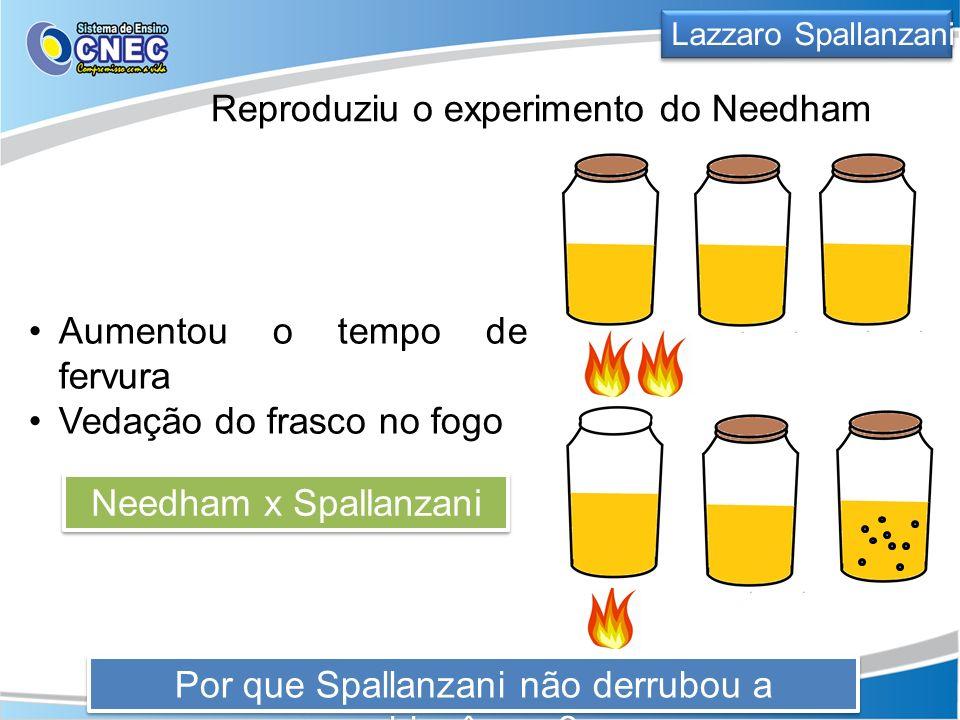Lazzaro Spallanzani Reproduziu o experimento do Needham Aumentou o tempo de fervura Vedação do frasco no fogo Por que Spallanzani não derrubou a abiog