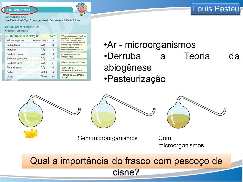 Ar - microorganismos Derruba a Teoria da abiogênese Pasteurização Sem microorganismosCom microorganismos Qual a importância do frasco com pescoço de c