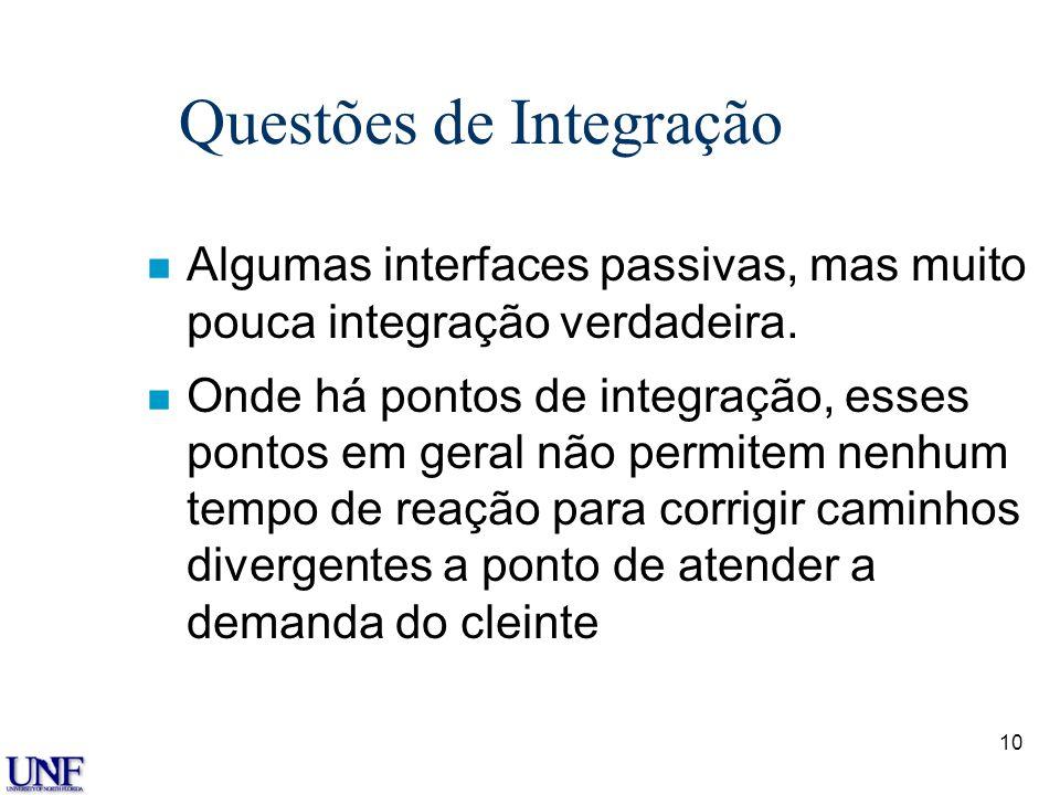 10 Questões de Integração n Algumas interfaces passivas, mas muito pouca integração verdadeira. n Onde há pontos de integração, esses pontos em geral