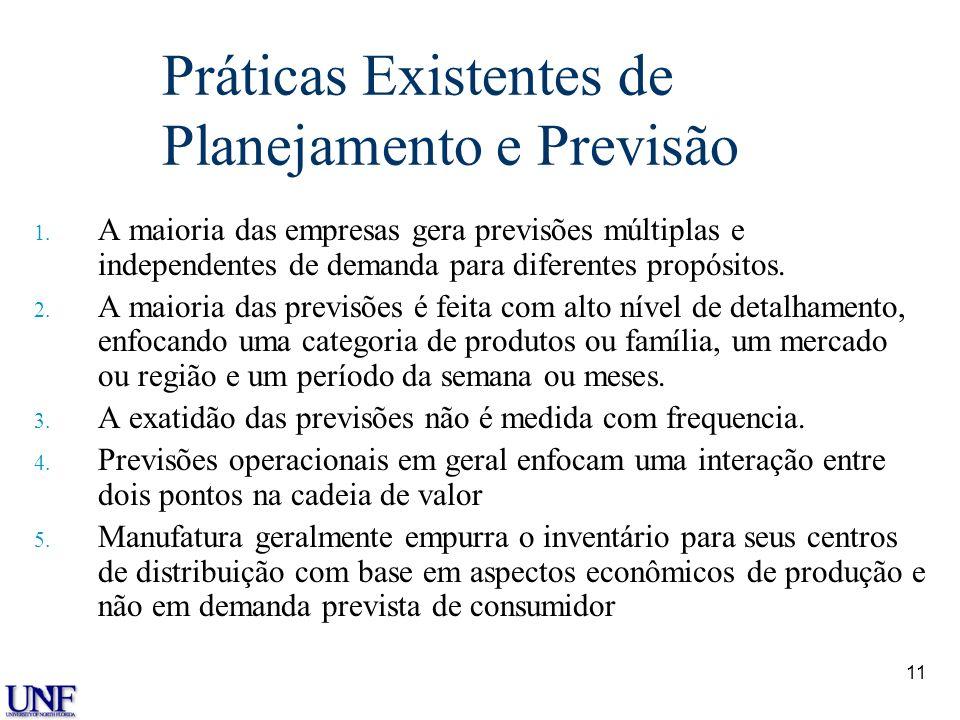11 Práticas Existentes de Planejamento e Previsão 1. A maioria das empresas gera previsões múltiplas e independentes de demanda para diferentes propós
