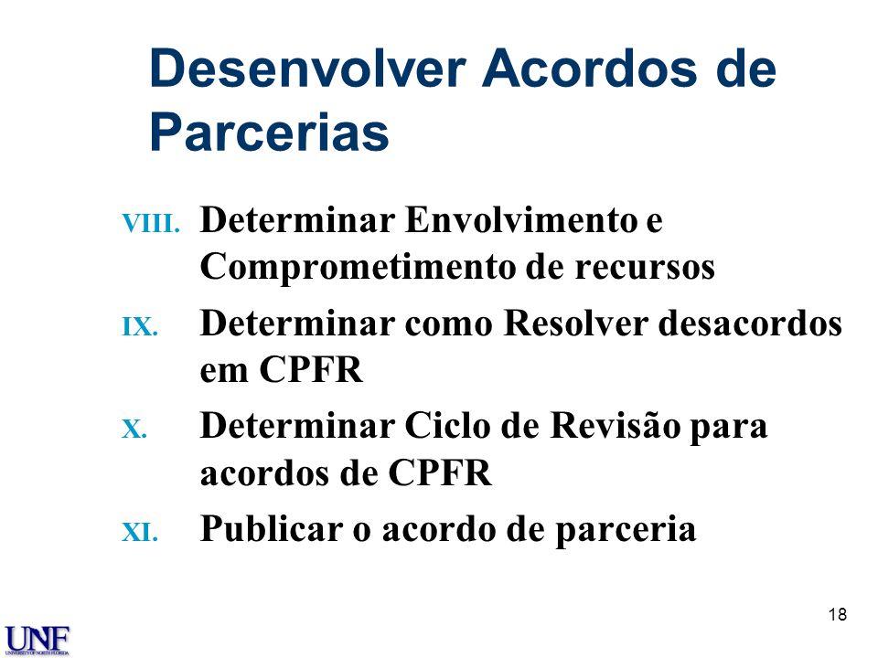 18 Desenvolver Acordos de Parcerias VIII. Determinar Envolvimento e Comprometimento de recursos IX. Determinar como Resolver desacordos em CPFR X. Det