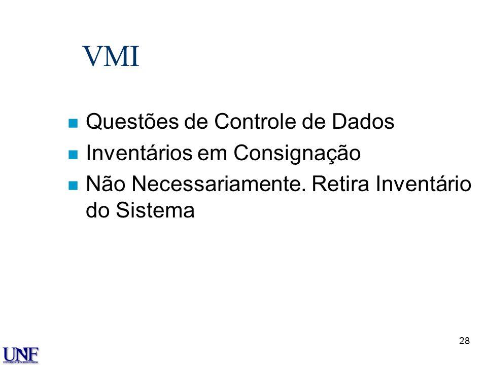 28 VMI n Questões de Controle de Dados n Inventários em Consignação n Não Necessariamente. Retira Inventário do Sistema