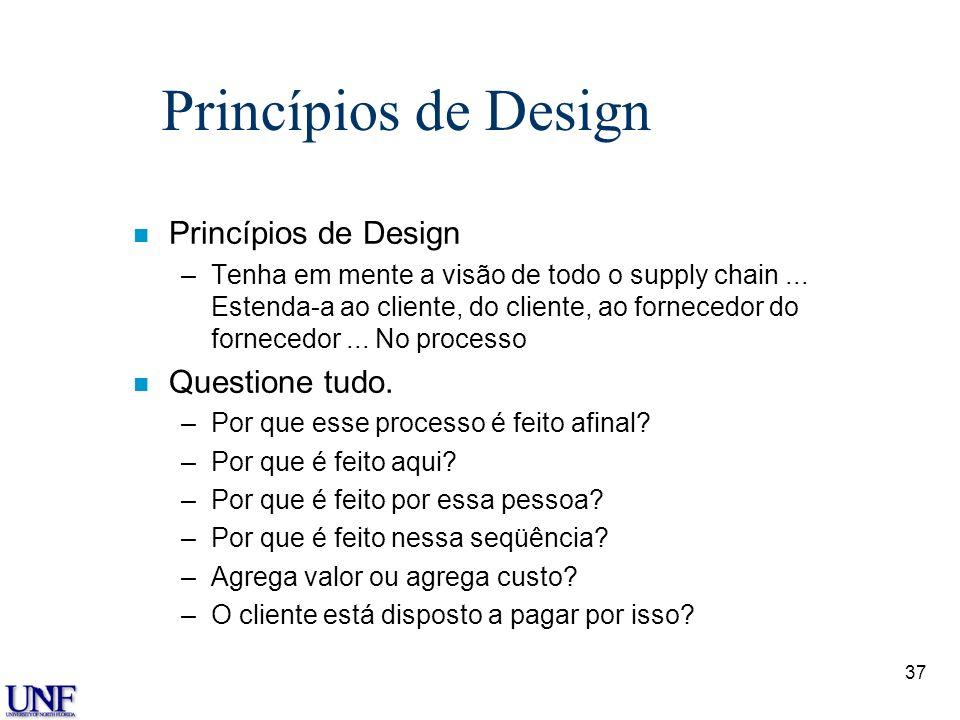 37 Princípios de Design n Princípios de Design –Tenha em mente a visão de todo o supply chain... Estenda-a ao cliente, do cliente, ao fornecedor do fo