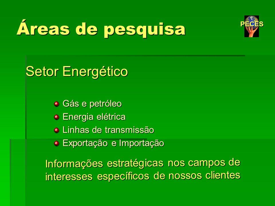 Áreas de pesquisa Setor Energético Gás e petróleo Gás e petróleo Energia elétrica Energia elétrica Linhas de transmissão Linhas de transmissão Exporta