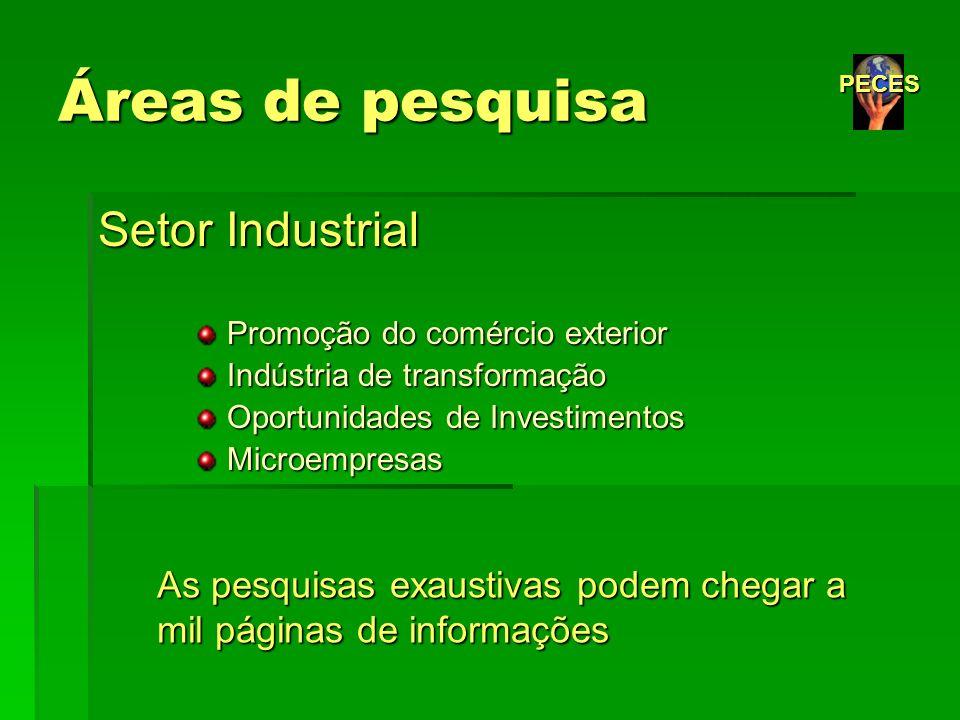 Áreas de pesquisa Setor Industrial Promoção do comércio exterior Promoção do comércio exterior Indústria de transformação Indústria de transformação O