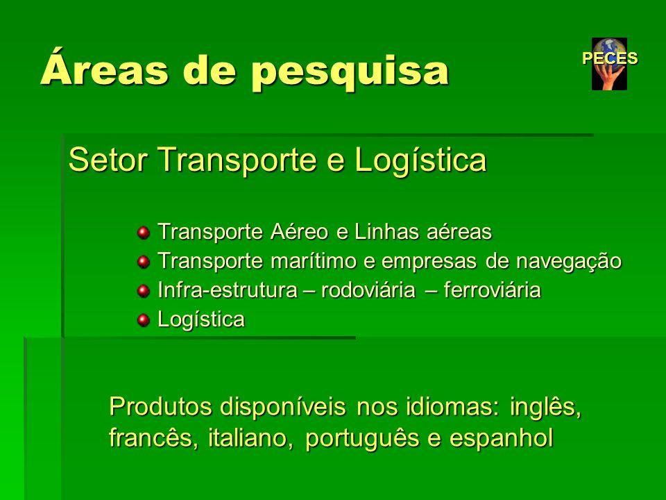 Áreas de pesquisa Setor Transporte e Logística Transporte Aéreo e Linhas aéreas Transporte Aéreo e Linhas aéreas Transporte marítimo e empresas de nav