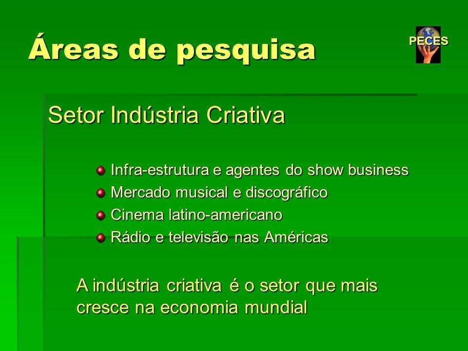 Áreas de pesquisa Setor Indústria Criativa Infra-estrutura e agentes do show business Infra-estrutura e agentes do show business Mercado musical e dis