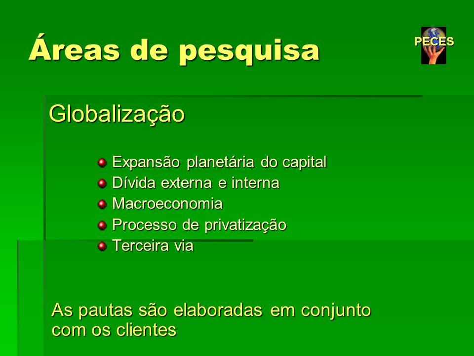 Áreas de pesquisa Globalização Expansão planetária do capital Expansão planetária do capital Dívida externa e interna Dívida externa e interna Macroec