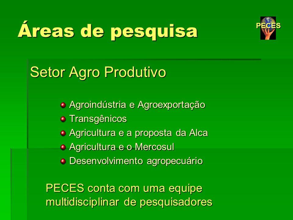 Áreas de pesquisa Setor Agro Produtivo Agroindústria e Agroexportação Agroindústria e Agroexportação Transgênicos Transgênicos Agricultura e a propost
