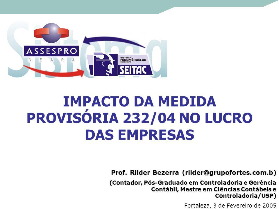 IMPACTO DA MEDIDA PROVISÓRIA 232/04 NO LUCRO DAS EMPRESAS Prof. Rilder Bezerra (rilder@grupofortes.com.b) (Contador, Pós-Graduado em Controladoria e G