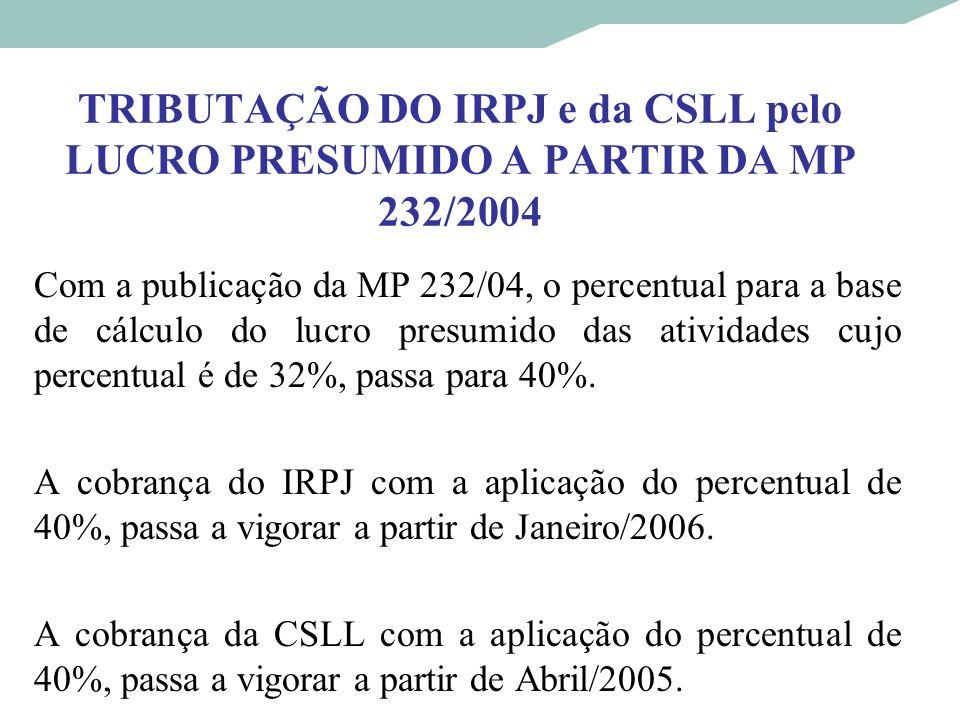 TRIBUTAÇÃO DO IRPJ e da CSLL pelo LUCRO PRESUMIDO A PARTIR DA MP 232/2004 Com a publicação da MP 232/04, o percentual para a base de cálculo do lucro