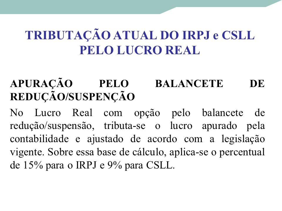 TRIBUTAÇÃO ATUAL DO IRPJ e CSLL PELO LUCRO REAL APURAÇÃO PELO BALANCETE DE REDUÇÃO/SUSPENÇÃO No Lucro Real com opção pelo balancete de redução/suspens
