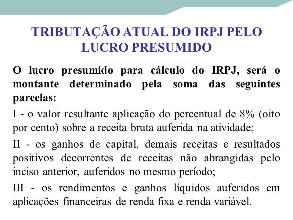 TRIBUTAÇÃO ATUAL DO IRPJ PELO LUCRO PRESUMIDO O lucro presumido para cálculo do IRPJ, será o montante determinado pela soma das seguintes parcelas: I