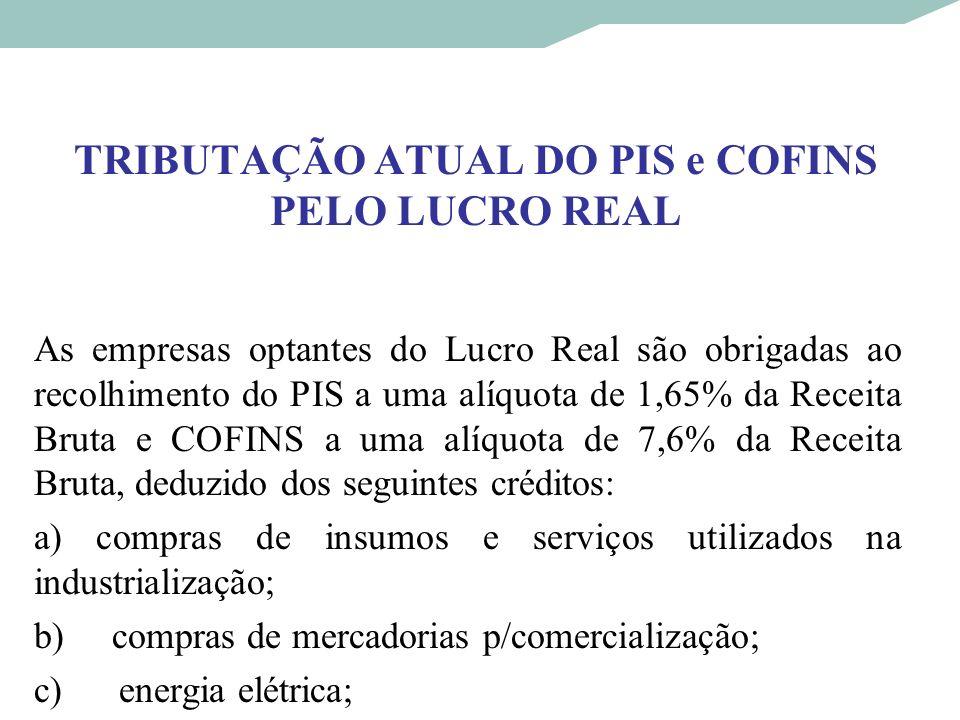 TRIBUTAÇÃO ATUAL DO PIS e COFINS PELO LUCRO REAL As empresas optantes do Lucro Real são obrigadas ao recolhimento do PIS a uma alíquota de 1,65% da Re