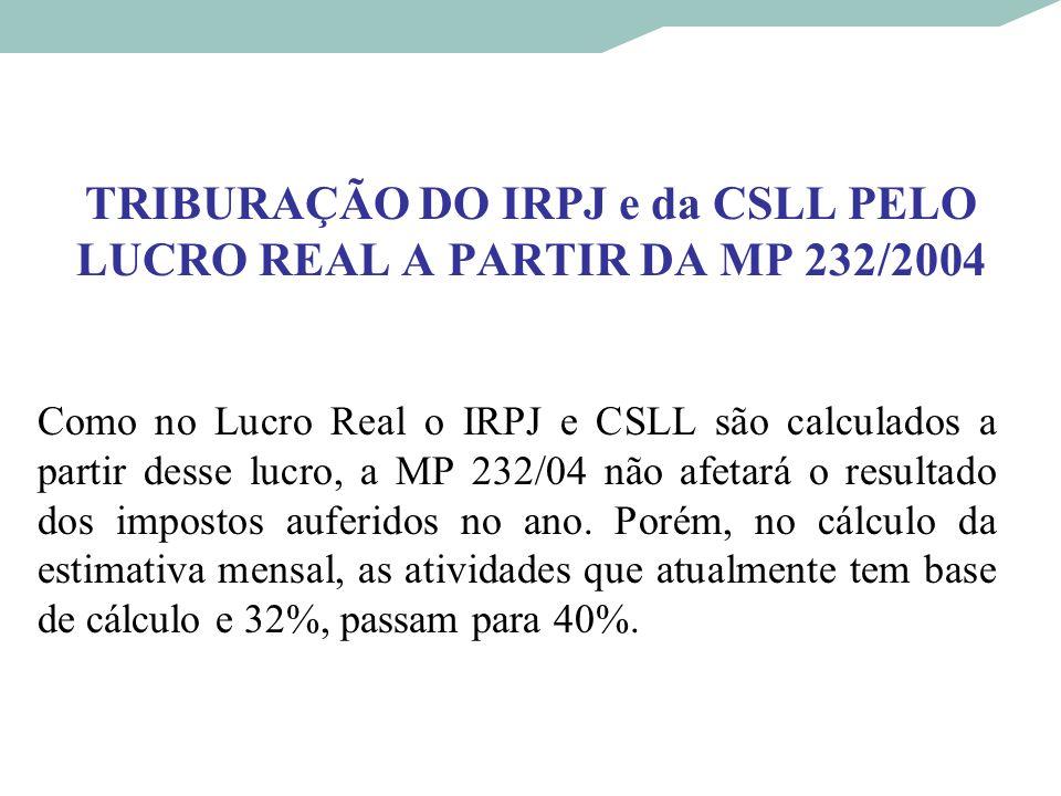 TRIBURAÇÃO DO IRPJ e da CSLL PELO LUCRO REAL A PARTIR DA MP 232/2004 Como no Lucro Real o IRPJ e CSLL são calculados a partir desse lucro, a MP 232/04
