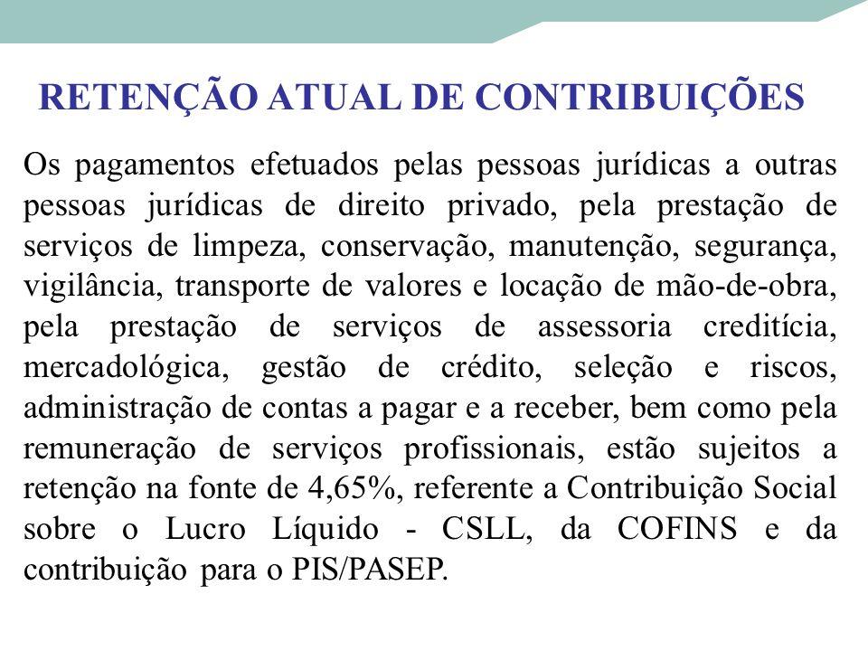 RETENÇÃO ATUAL DE CONTRIBUIÇÕES Os pagamentos efetuados pelas pessoas jurídicas a outras pessoas jurídicas de direito privado, pela prestação de servi