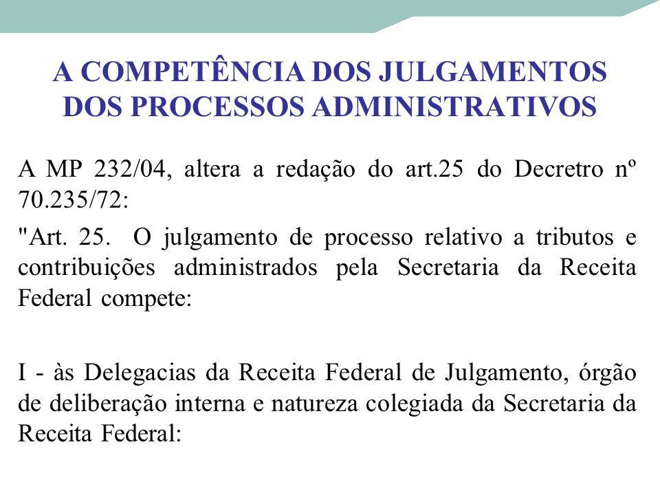 A COMPETÊNCIA DOS JULGAMENTOS DOS PROCESSOS ADMINISTRATIVOS A MP 232/04, altera a redação do art.25 do Decretro nº 70.235/72: