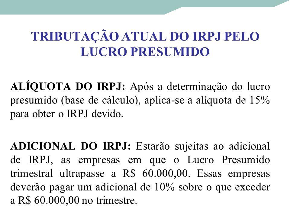 TRIBUTAÇÃO ATUAL DO IRPJ PELO LUCRO PRESUMIDO ALÍQUOTA DO IRPJ: Após a determinação do lucro presumido (base de cálculo), aplica-se a alíquota de 15%