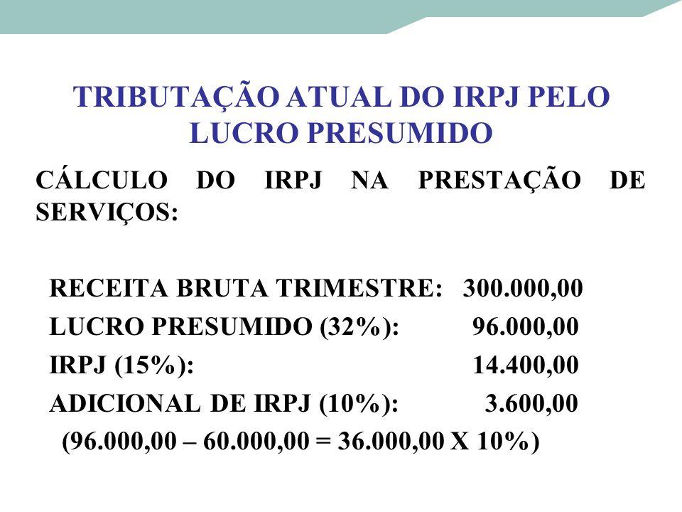 TRIBUTAÇÃO ATUAL DO IRPJ PELO LUCRO PRESUMIDO CÁLCULO DO IRPJ NA PRESTAÇÃO DE SERVIÇOS: RECEITA BRUTA TRIMESTRE: 300.000,00 LUCRO PRESUMIDO (32%): 96.