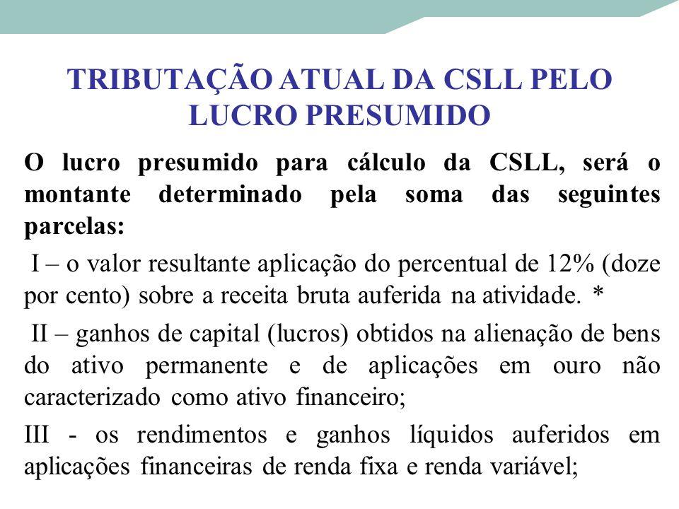 TRIBUTAÇÃO ATUAL DA CSLL PELO LUCRO PRESUMIDO O lucro presumido para cálculo da CSLL, será o montante determinado pela soma das seguintes parcelas: I