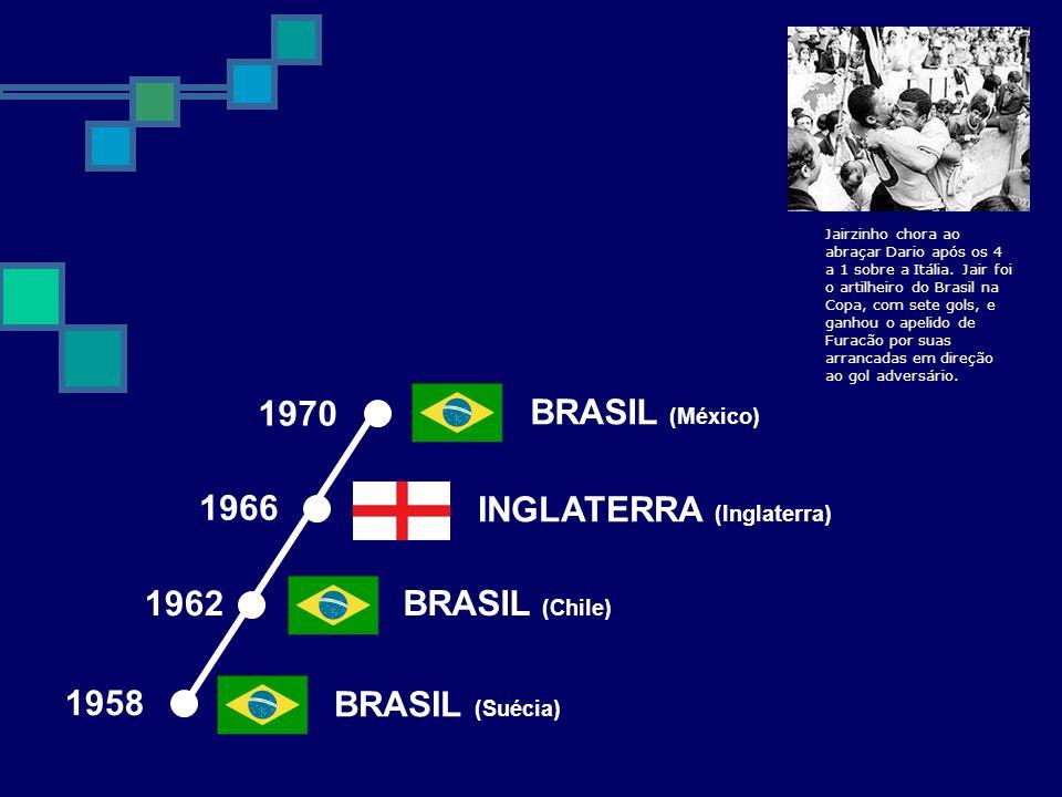 1970 1962 BRASIL (Chile) BRASIL (Suécia) 1958 INGLATERRA (Inglaterra) 1966 BRASIL (México) Jairzinho chora ao abraçar Dario após os 4 a 1 sobre a Itál
